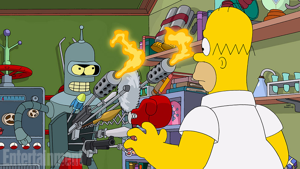 Simpsorama: Homer e Bender nel crossover tra I Simpson e Futurama