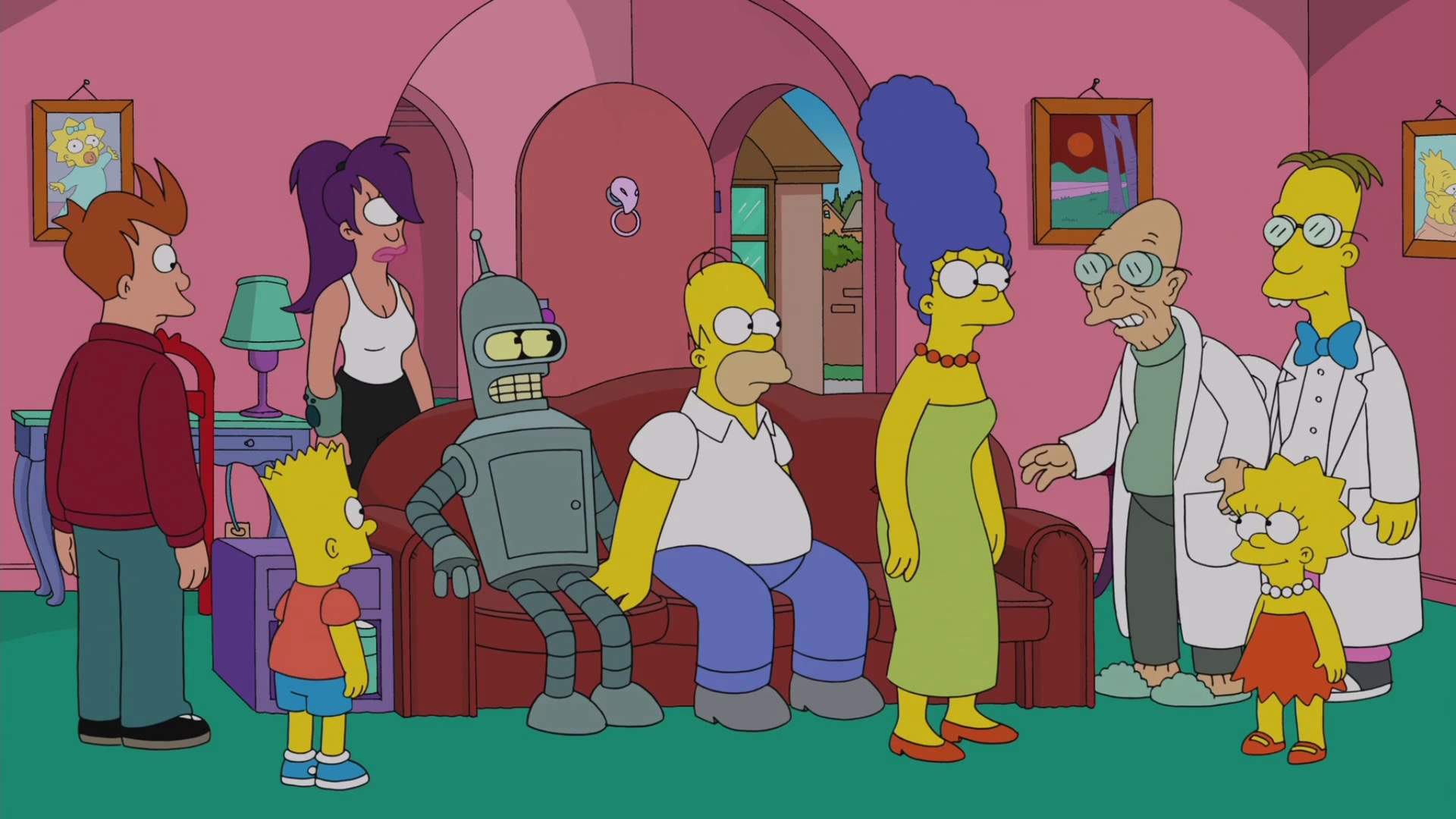 Simpsorama: la scena del divano dall'episodio crossover tra I Simpson e Futurama
