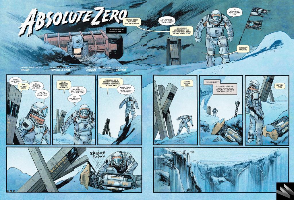 Absolute Zero - la prima pagina del fumetto ideato da Nolan e ispirato a Interstellar.