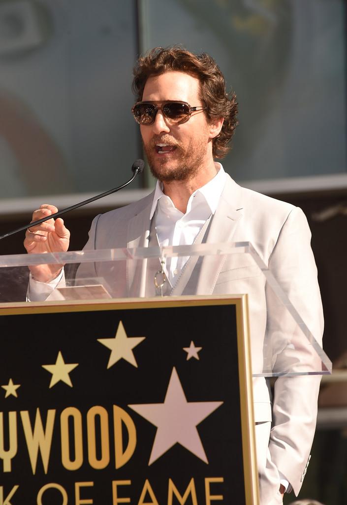 McConaughey durante la cerimonia per la stella sulla Walk of Fame