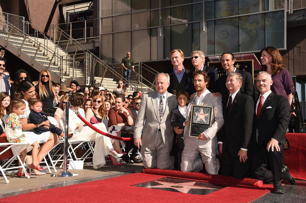 Matthew McConaughey durante la cerimonia per la star sulla Walk of Fame