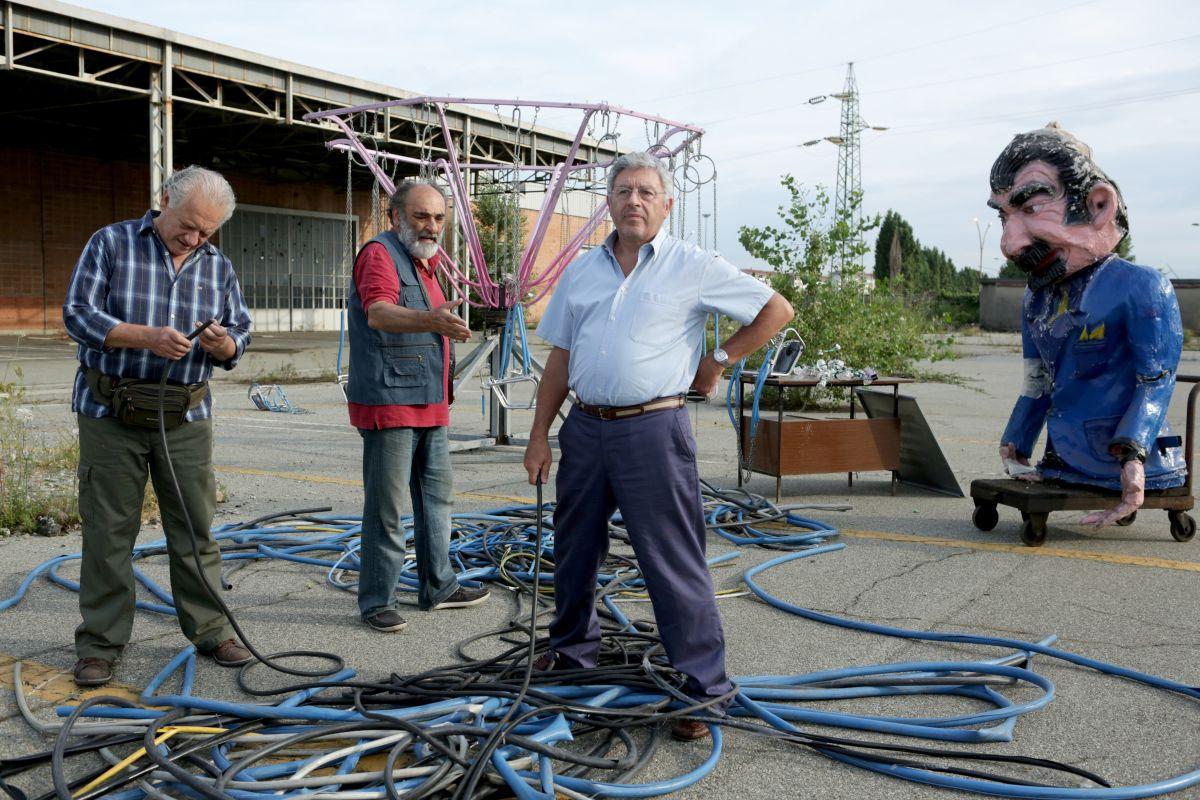 Alessandro Haber in una scena di Mirafiori Lunapark con Antonio Catania e Giorgio Colangeli