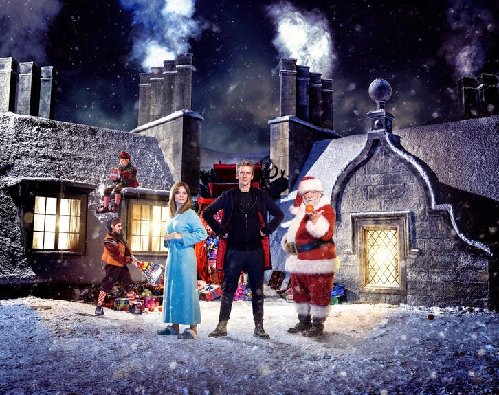 Doctor Who: Dan Starkey, Nathan McMullen, Jenna-Louise Coleman, Peter Capaldi e Nick Frost nel poster promozionale di Last Christmas