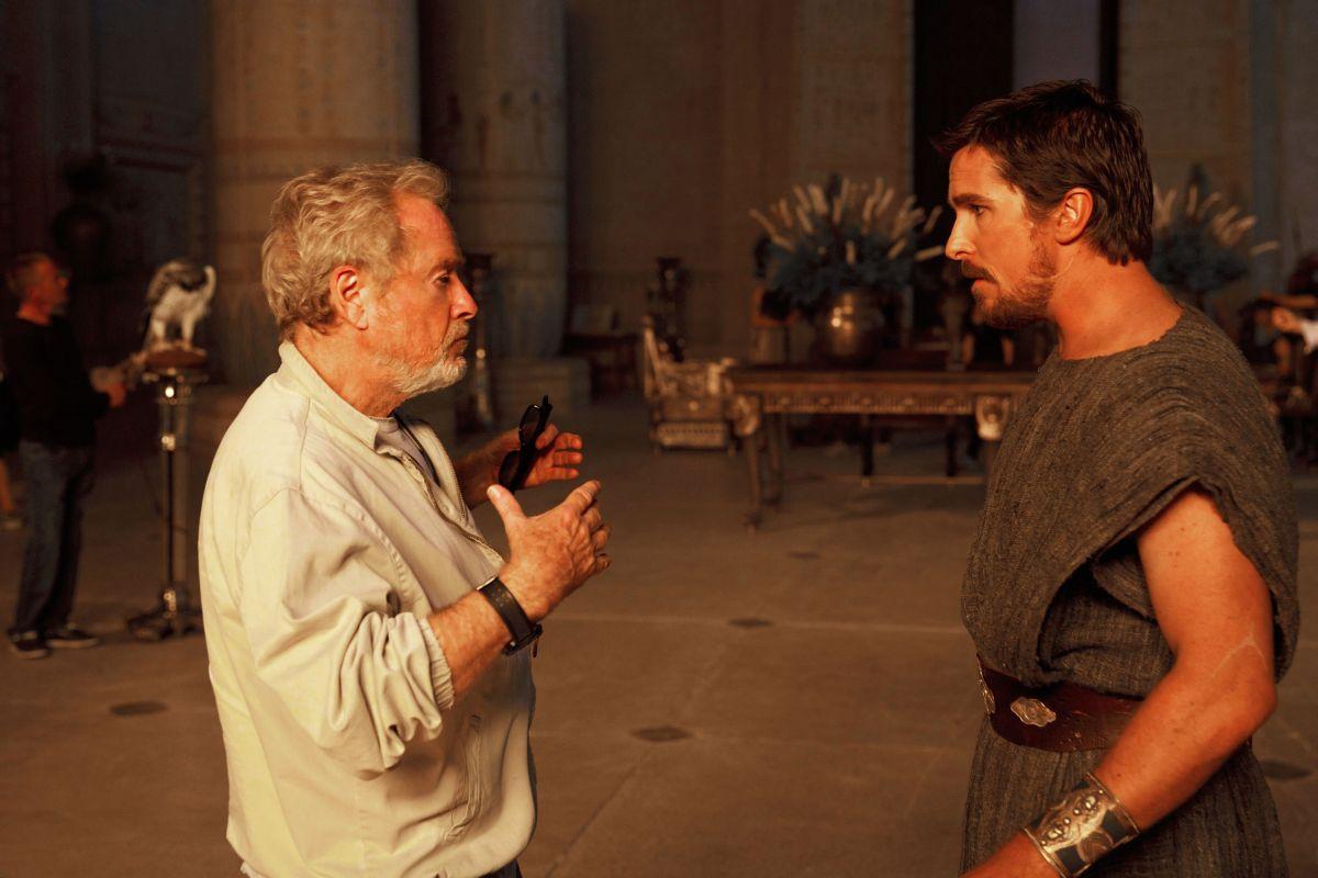 Exodus - Dei e Re: Christian Bale con Ridley Scott sul set