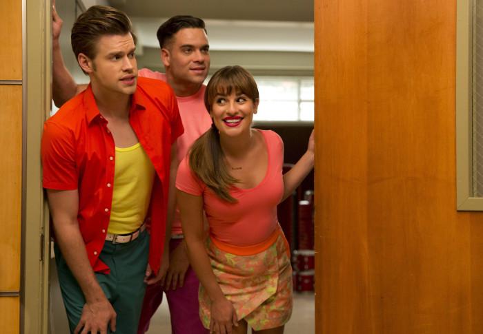 Glee: Chord Overstreet, Lea Michele e Mark Salling in Homecoming