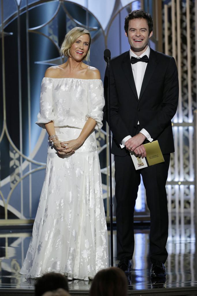 Kristen Wiig e Bill Hader durante i Golden Globes 2015