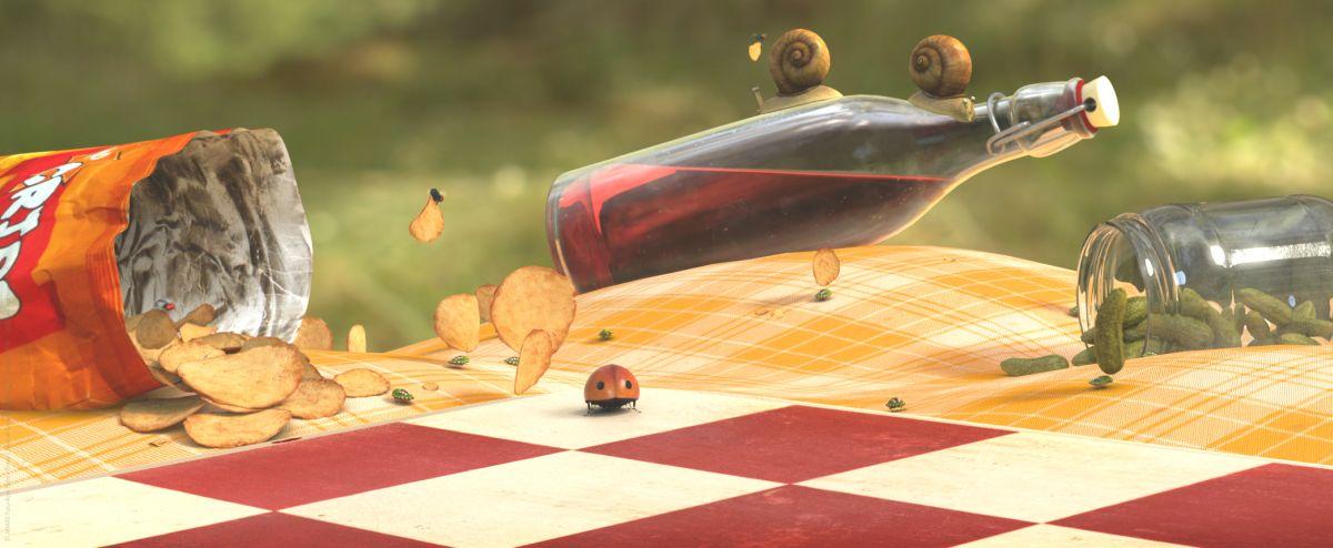 MINUSCULE - La valle delle formiche perdute: resti di un pic nic sparsi nel prato in una scena del film animato