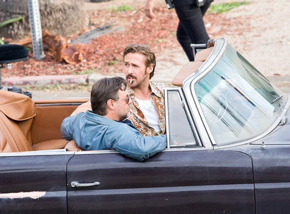 The Nice Guys - Ryan Gosling e Russell Crowe durante le riprese
