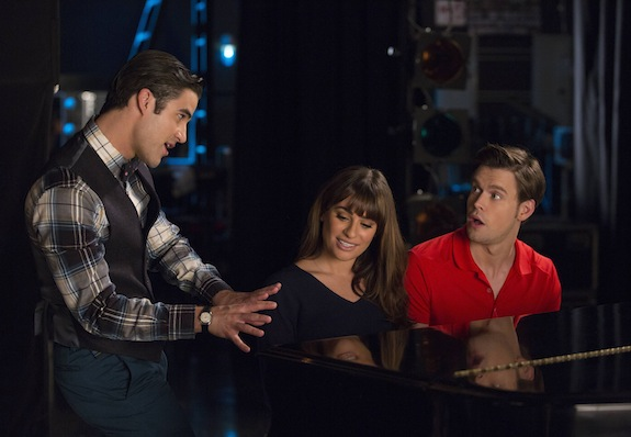 Glee: Darren Criss, Lea Michele e Chord Overstreet in The Hurt Locker, Part 1