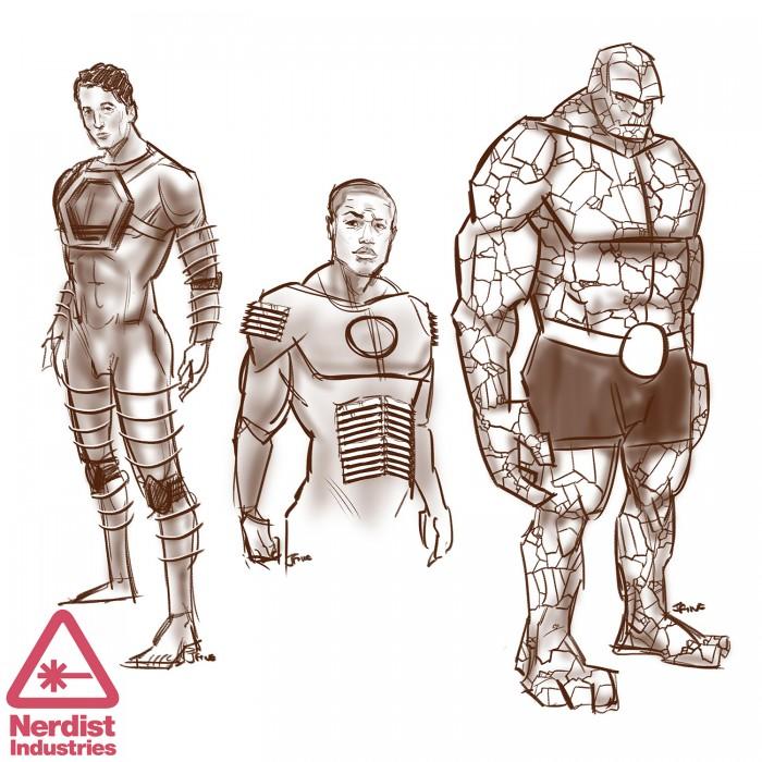 Fantastic 4 - I Fantastici Quattro: il bozzetto del costume dei tre protagonisti maschili