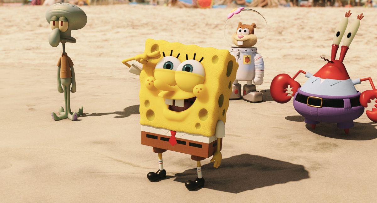 SpongeBob - Fuori dall'acqua: SpongeBob con i suoi amici in una scena del film