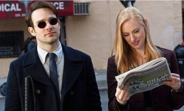 Daredevil: Charlie Cox e Deborah Ann Woll in una scena della serie