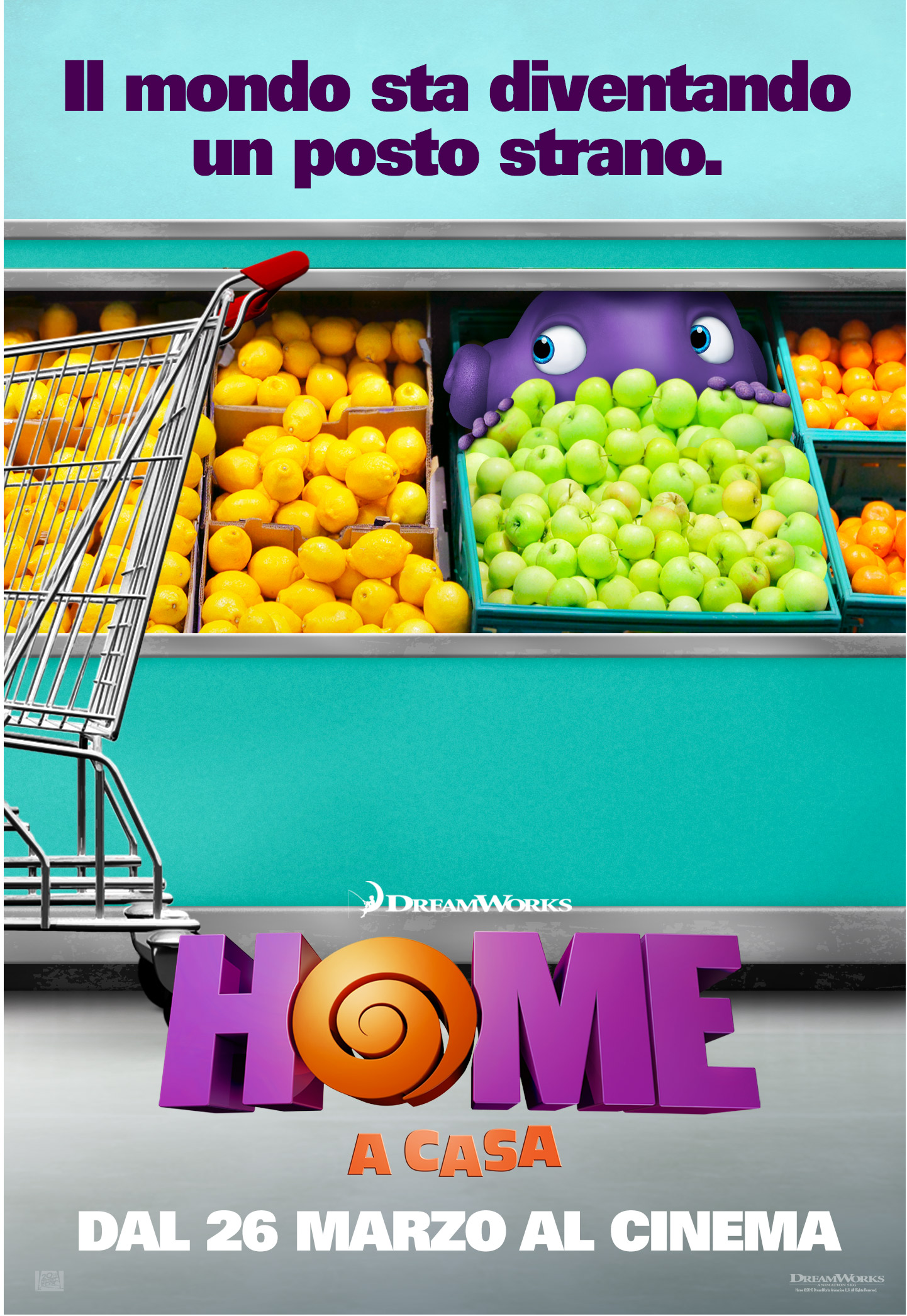 Home - A casa: l'extraterrestre Oh in un divertente poster italiano del film animato