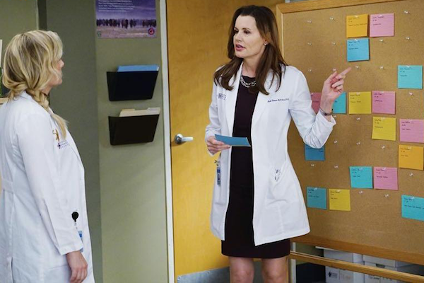 Grey's Anatomy: le attrici Jessica Capshaw e Geena Davis nella puntata Staring at the End