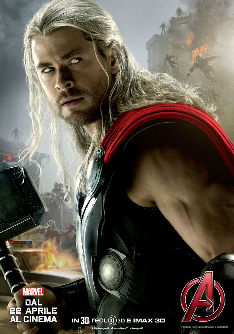 Avengers: Age of Ultron, Chris Hemsworth nel character poster italiano di Thor