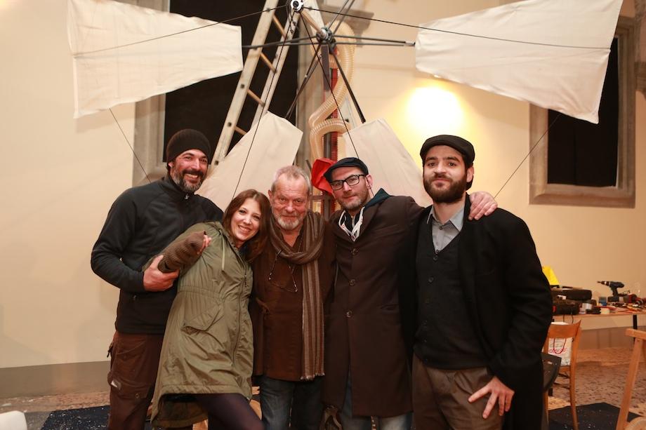 Terry Gilliam con lo staff di Lucca Effetto Cinema