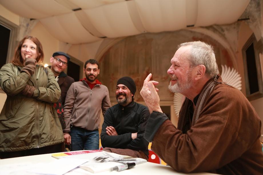 Terry Gilliam insieme allo staff di Lucca Effetto Cinema