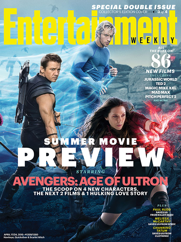 Avengers: Age of Ultron: Hawkeye, Quicksilver e Scarlet Witch sulla copertina di Entertainment Weekly