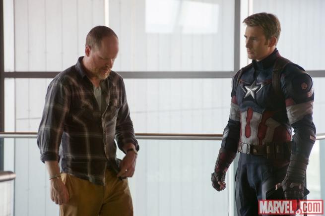 Avengers: Age of Ultron - Joss Whedon e Chris Evans durante le riprese