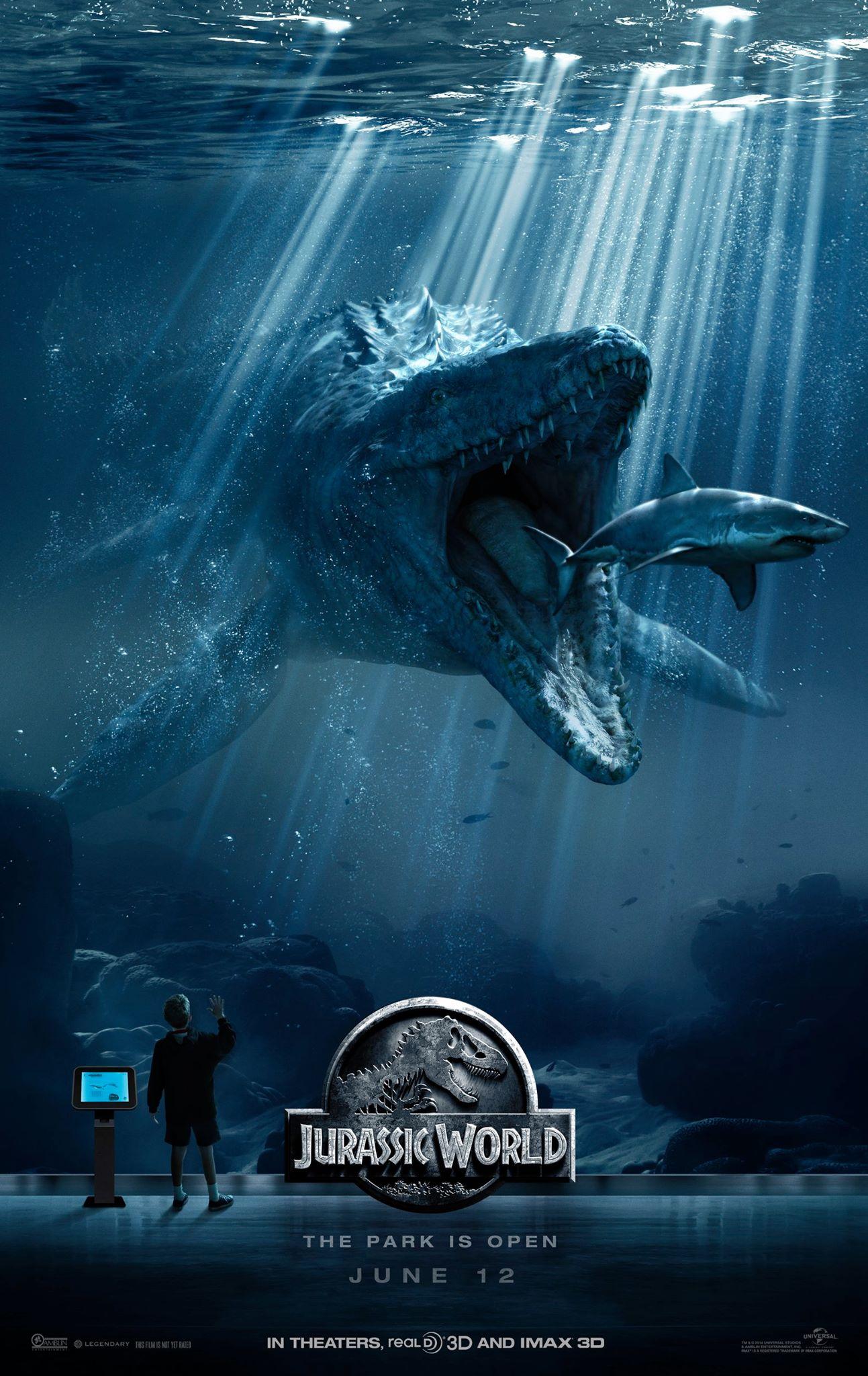 Jurassic World: un Mosasaurus, creatura subacquea preistorica nel poster