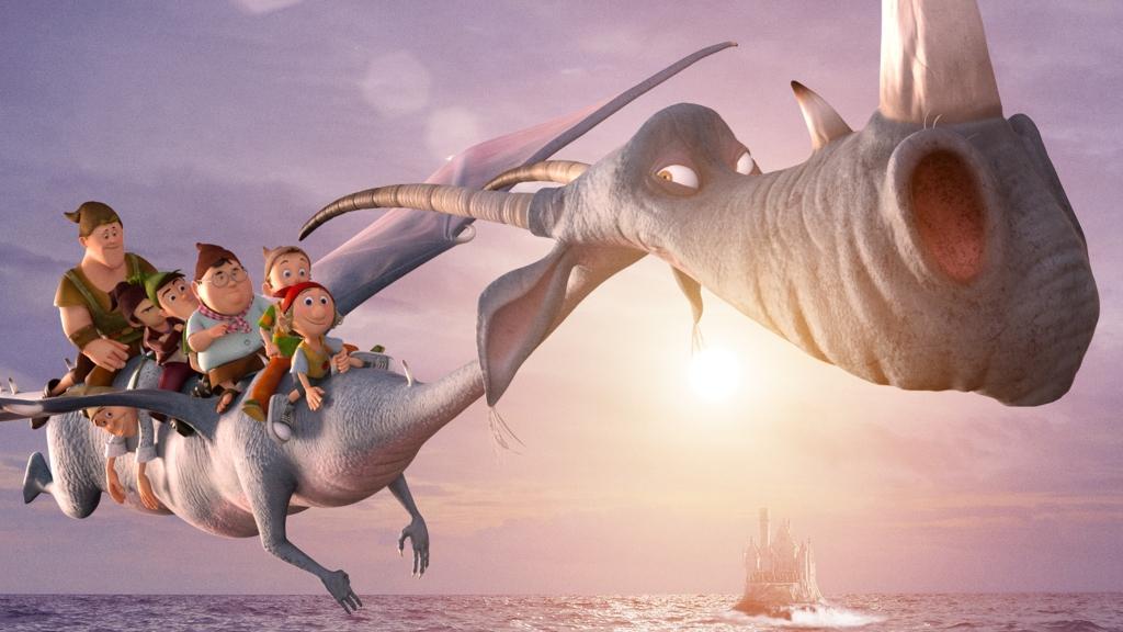 I 7 Nani: Il drago Barny con i suoi amici nani in una scena del film
