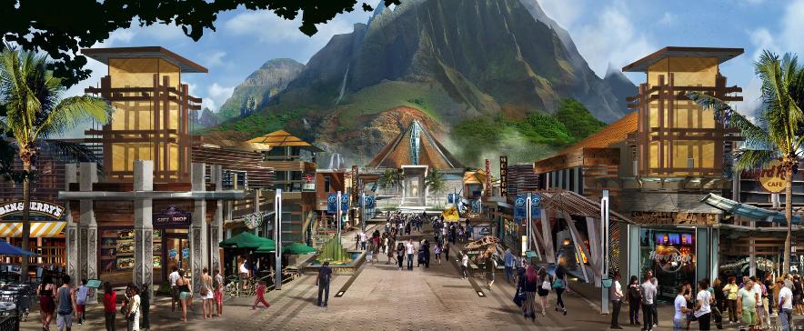 Jurassic World: un concept art del parco realizzato da Dean Sheriff