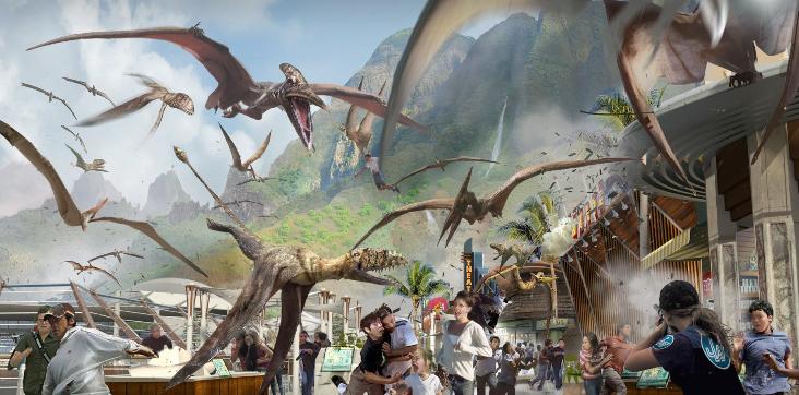 Jurassic World: un concept art di Dean Sheriff di una delle scene del film
