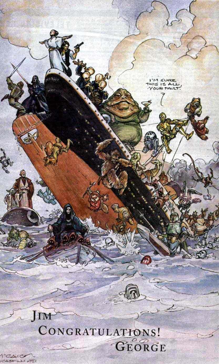 George Lucas si congratula con James Cameron per il successo di Titanic che supera Star Wars al boxoffice
