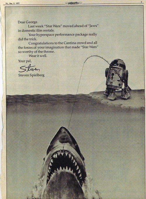 Spielberg si congratula con Lucas per il successo di Star Wars che supera Lo squalo