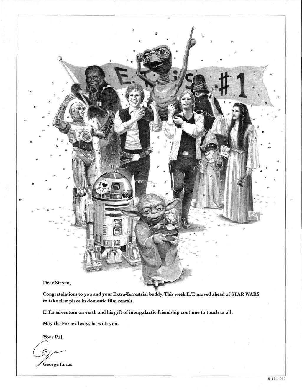 George Lucas si congratula con Steven Spielberg per il successo di E.T. che supera Star Wars al boxoffice