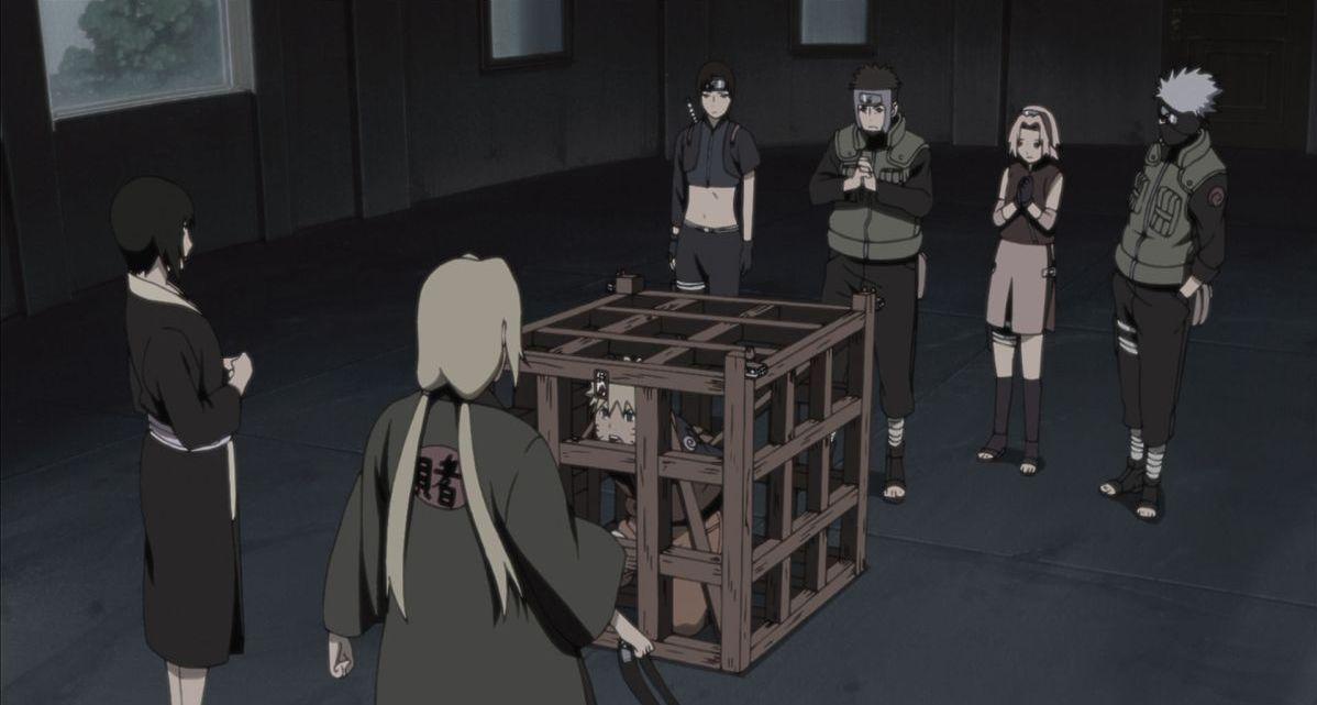 Naruto - Il film: La prigione insanguinata, Naruto in 'gabbia' in una scena del film