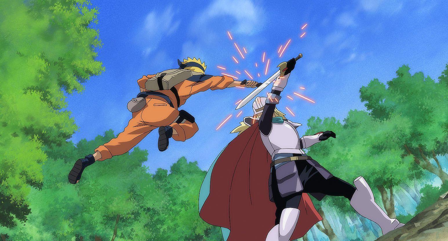Naruto - Il film: La Leggenda della Pietra Gelel, una scena di combattimento tratta dal film d'animazione