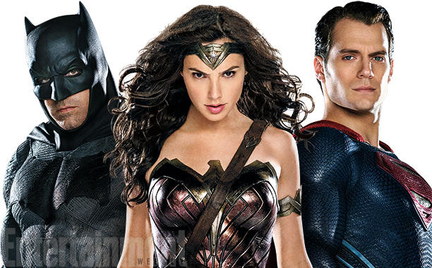 Batman v Superman: Dawn of Justice - Ben Affleck, Gal Gadot ed Henry Cavill in un'immagine promozionale