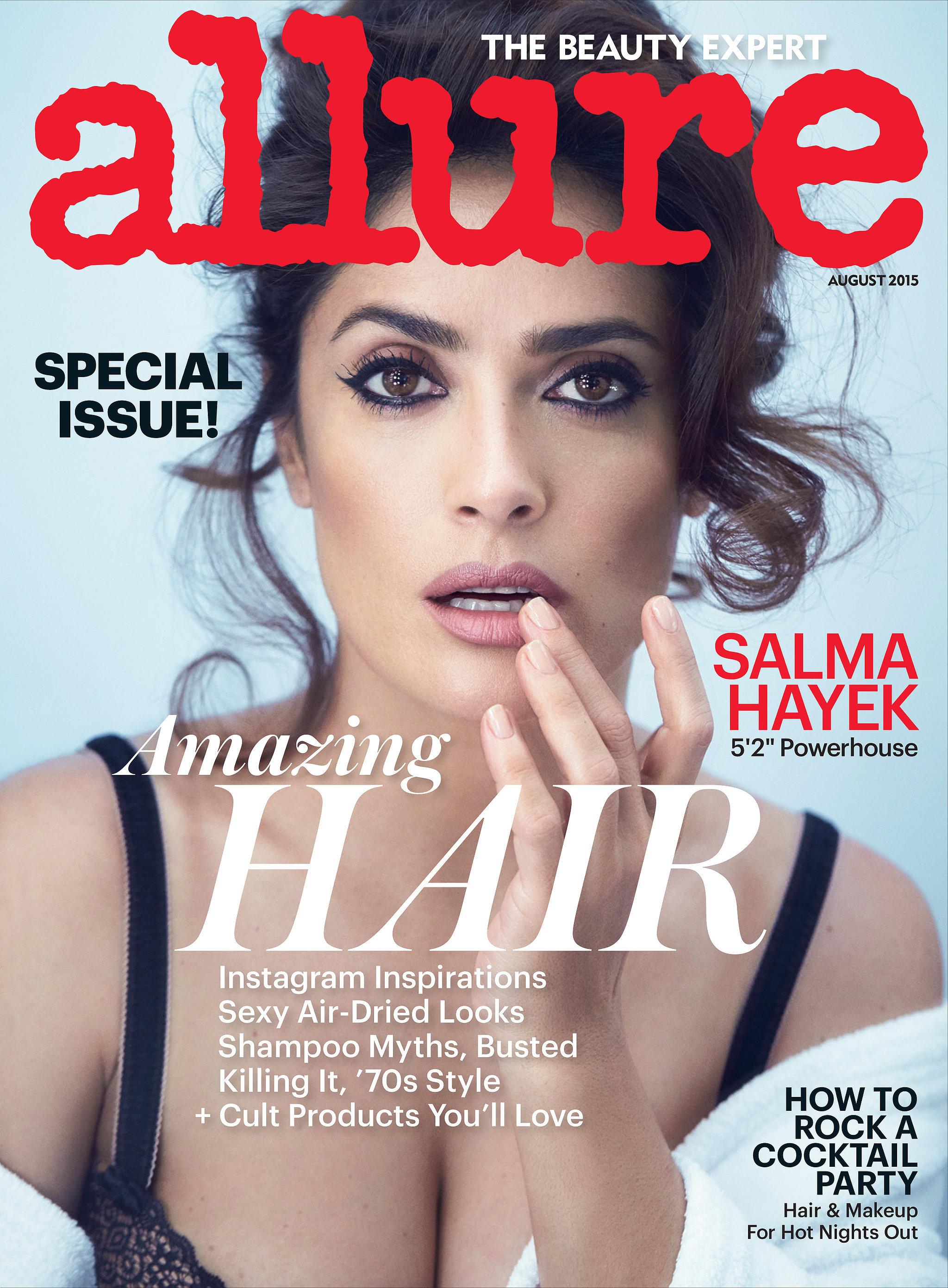 Salma Hayek sulla cover di Allure (agosto 2015)