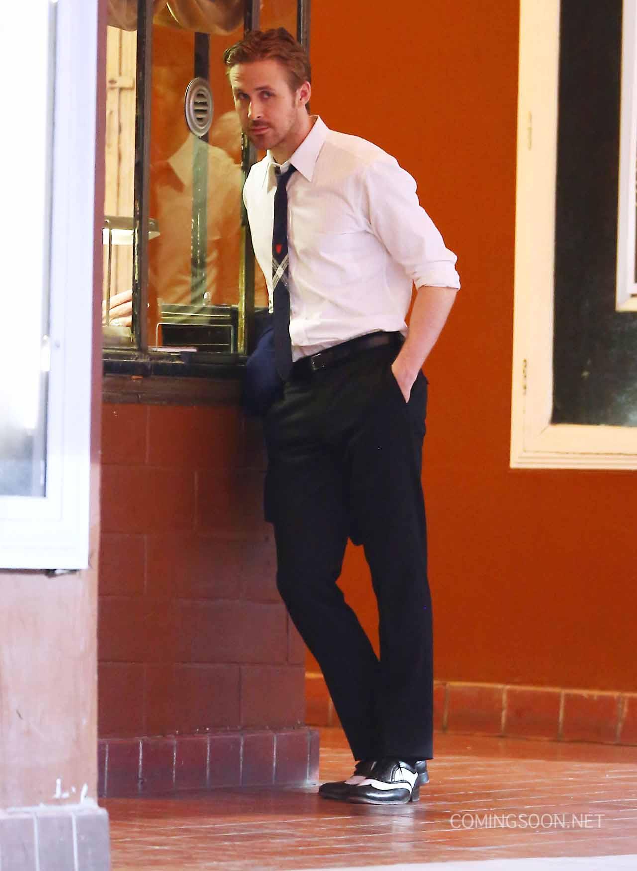 La La Land: l'attore Ryan Gosling sul set