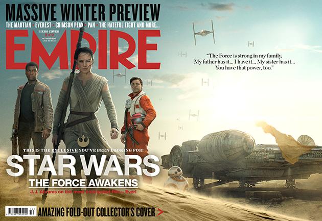 Star Wars: Episodio VII - Il Risveglio della Forza: la copertina di Empire dedicata agli eroi del film