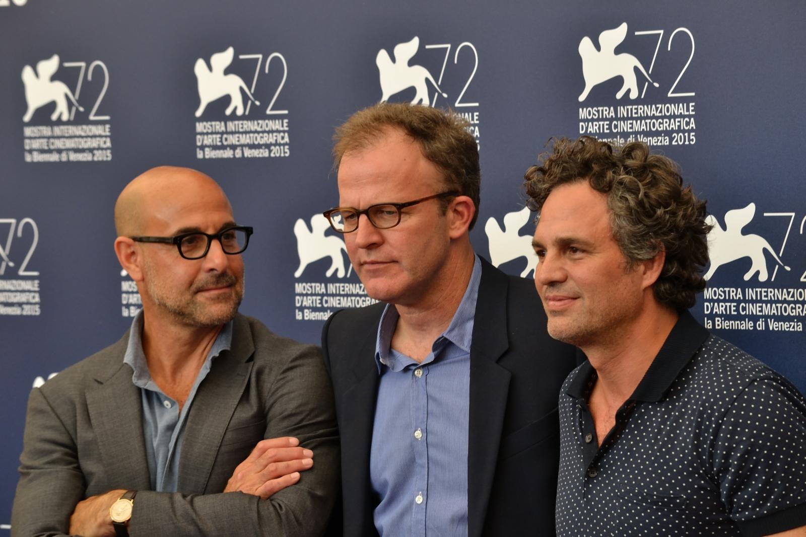 Spotlight: Mark Ruffalo, Stanley Tucci e il regista Thomas McCarthy al photocall di Venezia 72