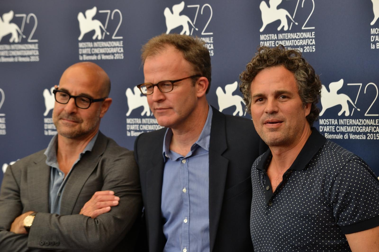 Spotlight: Mark Ruffalo, Stanley Tucci e il regista Thomas McCarthy al photocall di Venezia 2015