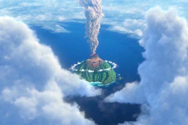 Lava: un'immagine dall'alto tratta dal cortometraggio della Pixar