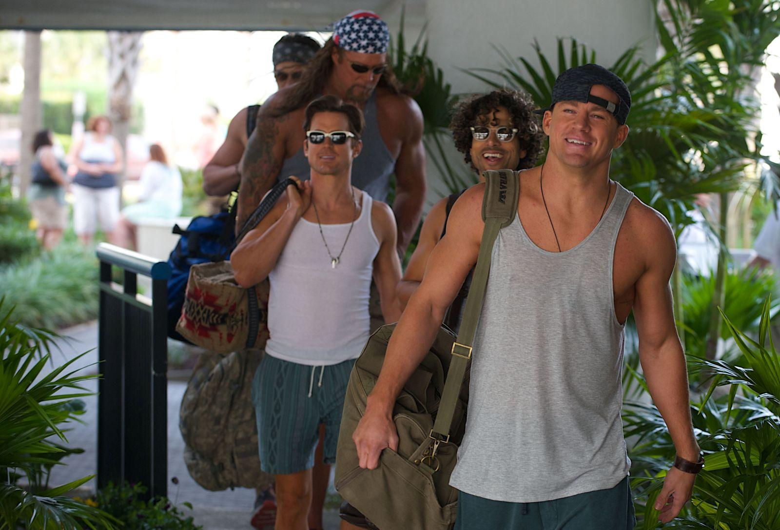 Magic Mike XXL: Channing Tatum, Adam Rodriguez e Kevin Nash in una scena del film