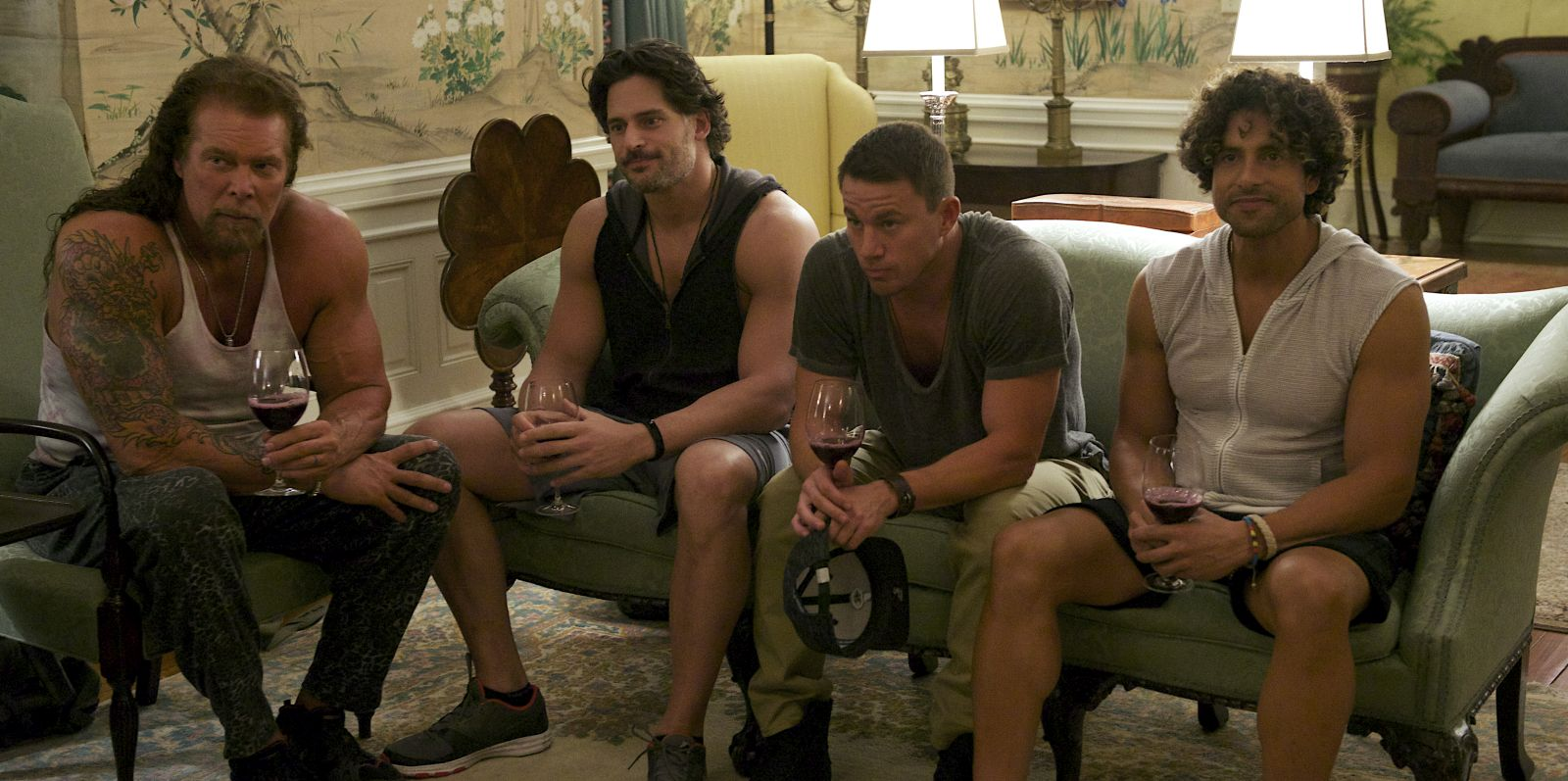 Magic Mike XXL: Kevin Nash, Joe Manganiello, Channing Tatum e Adam Rodriguez in una scena del film