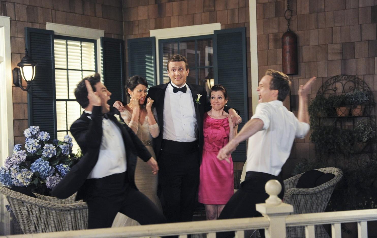 How I Met Your Mother: Jason Segel, Alyson Hannigan, Neil Patrick Harris, Josh Radnor, Cobie Smulders nel finale di serie