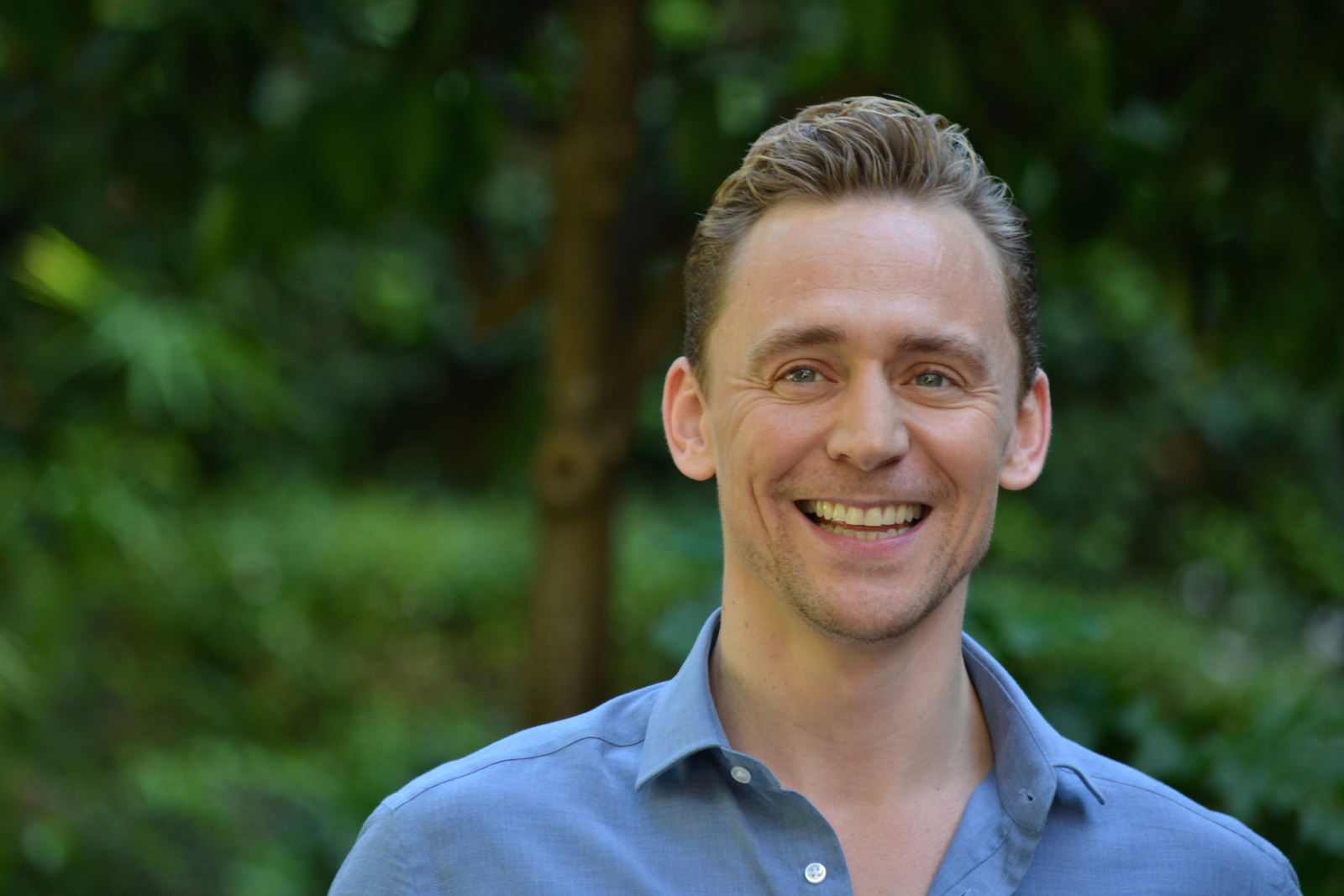 Crimson Peak:Tom Hiddleston sorridente al photocall