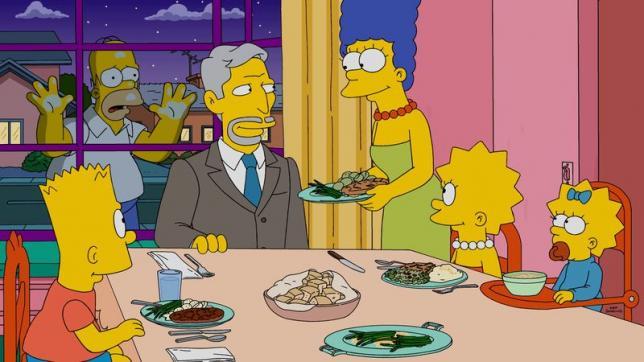 I Simpson: Homer assiste alla cena della sua famiglia in Every Man's Dream