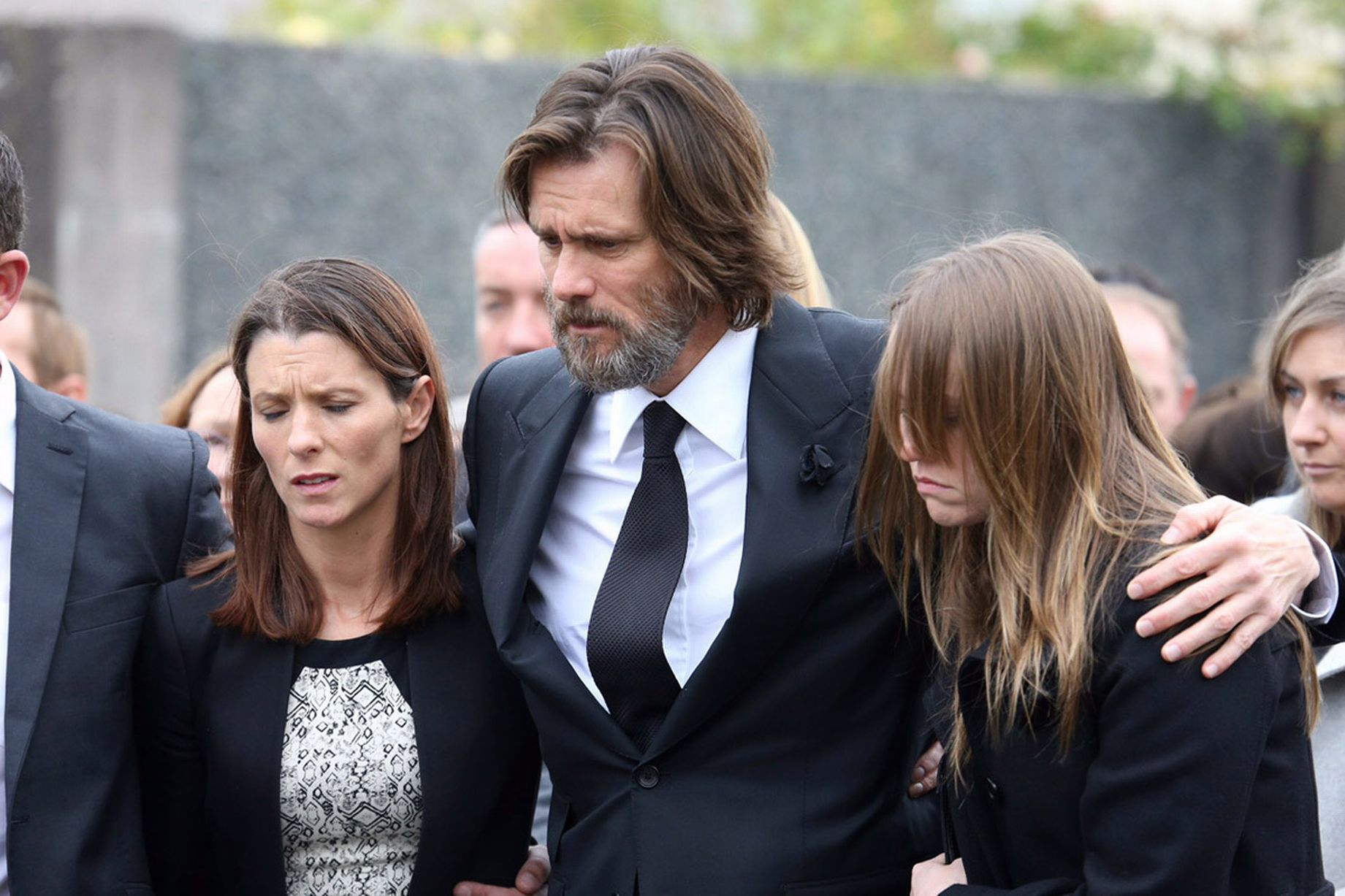 Jim Carrey ai funerali della ex-fidanzata Cathriona White