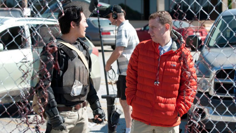 Lo showrunner Scott M. Gimple sul set di The Walking Dead