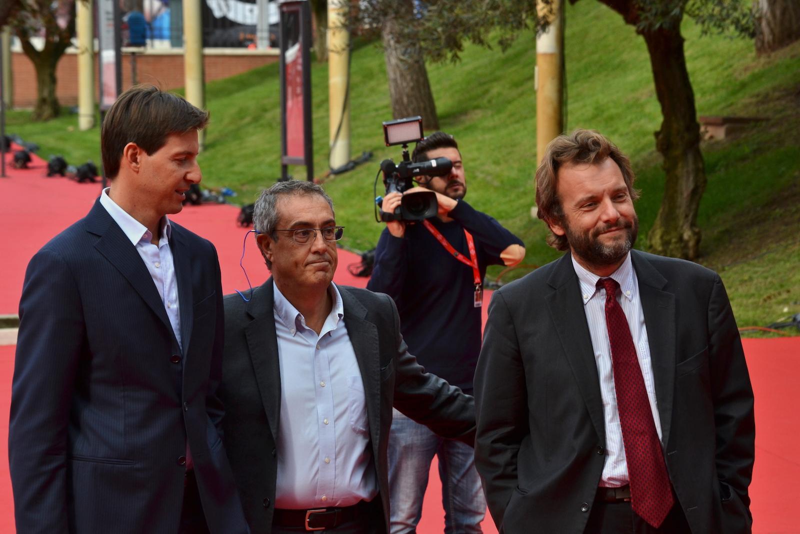Roma 2015: Marco Spagnoli e Stefano Bethlan davanti ai fotografi sul red carpet di Inside Out