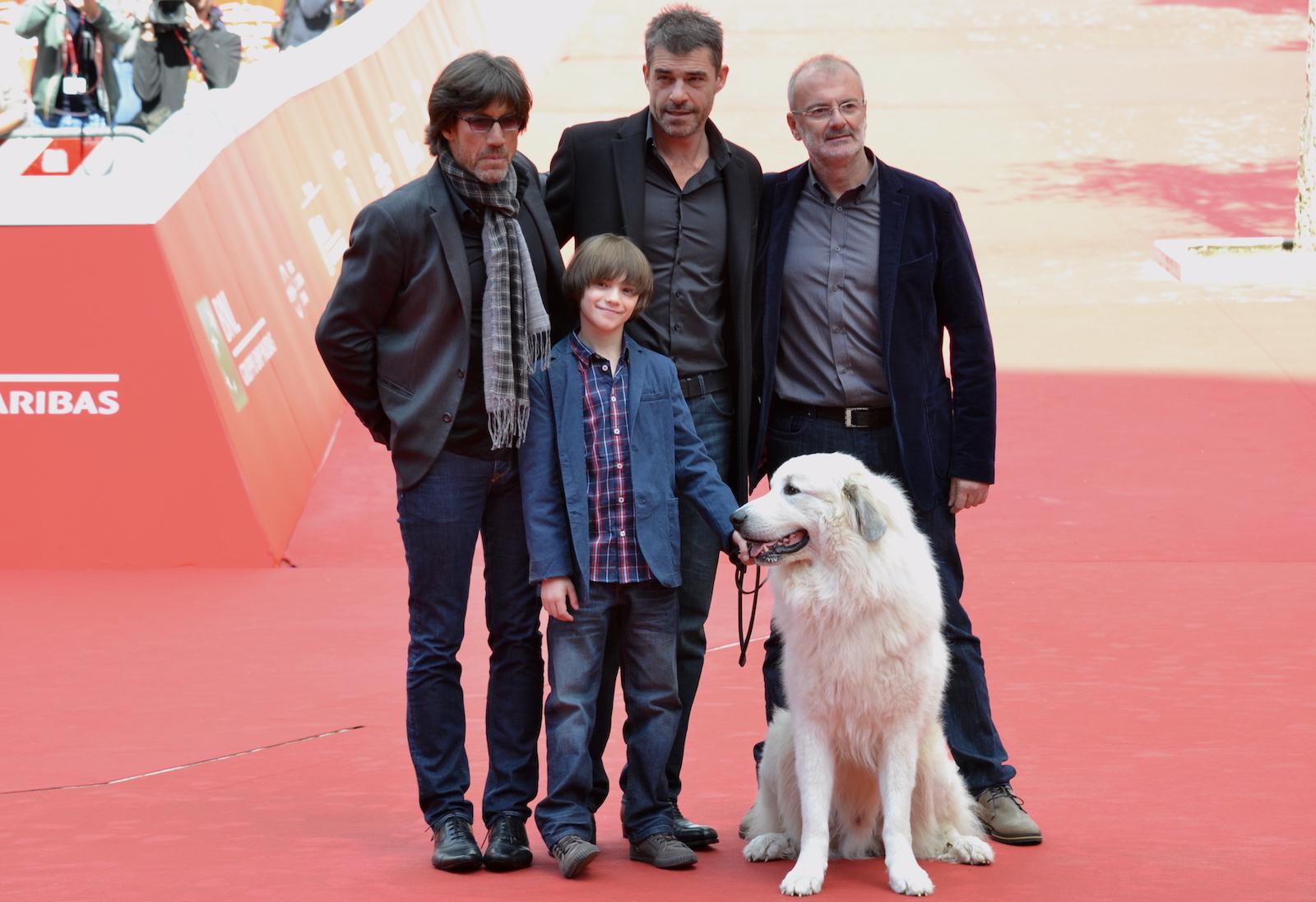 Roma 2015: Christian Duguay, Thierry Neuvic, Felix Bossuet e Belle, sul tappeto rosso di Belle & Sèbastien, l'avventura continua