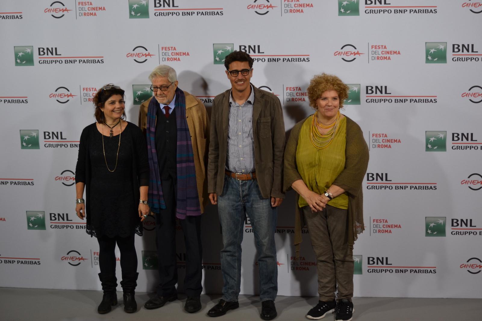 Roma 2015: Ettore Scola, Pierfrancesco Diliberto, Silvia Scola e Paola Scola al photocall di Ridendo e Scherzando