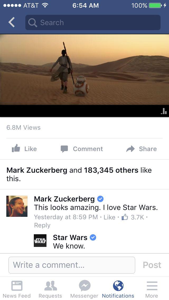 Star Wars: Episodio VII - Il risveglio della Forza - La risposta a Mark Zuckerberg